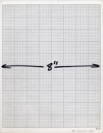 """Mel Bochner, 8"""" Measurement, 1969 Ink on graph paper."""